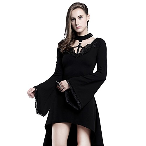 Steelsir Damen Steampunk Lautsprecher ?rmel Slim Fitting Kleid Gothic knielangen Kleid tr?gerlosen Rock (Rock Knielangen Slim)
