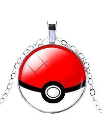 Legisdream Pokemon go Collar Poke Ball Pokeball Trap niños Unisex Blanco Rojo Pokemon go Pikachu Pokeball pokè