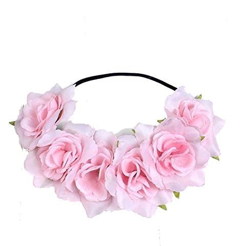 bandeau fleur,LHWY Grande fleur Rose front cheveux bandeau cheveux Couronne