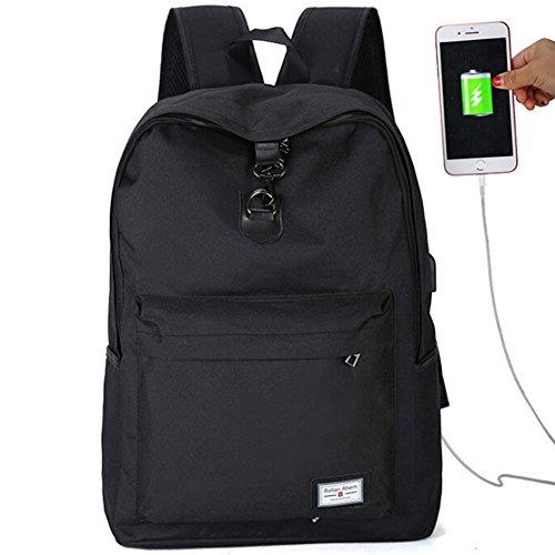 (Ailin Online Laptop Rucksack mit USB Ladeanschluss Mode Casual Reiserucksack Leinwand Große Fach Schulrucksack für Schule Reise Arbeit 3 Farben zu Auswahl (Schwarz))