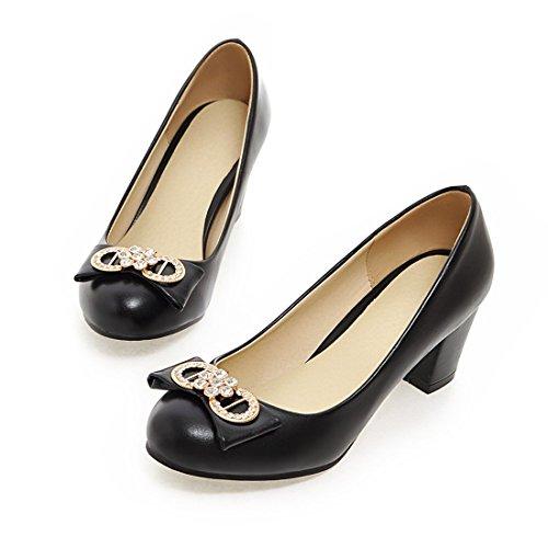 YE Damen Chunky Heels Low Cut Pumps mit Glitzer Strass und Schleife Office Party Schuhe Schwarz