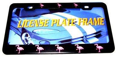 Moon Pink Flamingo Heavy Duty Black Kennzeichenrahmen Perfekt für Herren Damen Auto Garadge Decor