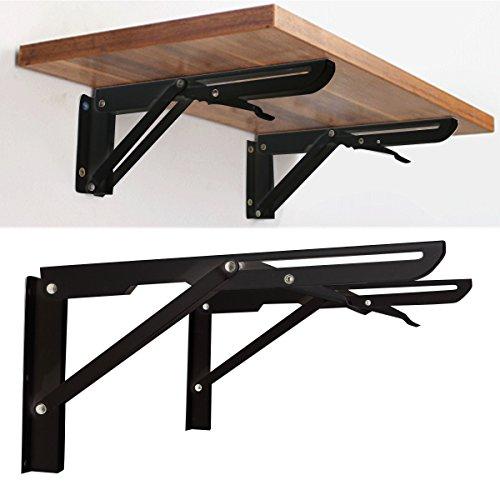 King do way 2 pezzi di supporto di metallo per mensola, staffa pieghevole in ferro stile vintage da parete, supporto di scheda/scaffale/mensola, nero 29 x 2.3 x 14cm