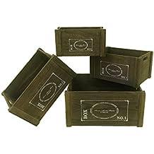 Mobili Rebecca® Set 4 Scatole Contenitore Ceste Cassette Legno Scuro Bianche Storage Stile Vintage Cucina Giardino Bagno (Cod. RE4476)