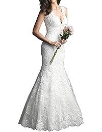 VIPbridal Elegante vestido de novia de encaje vestido de cuello V Mermaid Backless