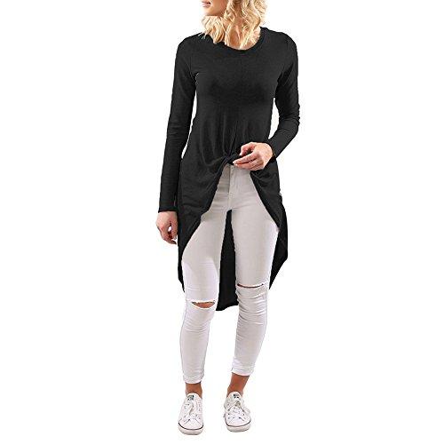 Shujin Damen Sommer Langarmshirt Lang mit Faltenwurf Asymmetrisch Longshirt Bluse Vorne Kurz Hinten Lang Tunika Oberteile Tops