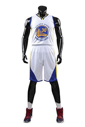 AGAB Herren NBA Stephen Curry # 30 Golden State Warriors Retro Basketball Shorts Sommer Jersey Basketball Uniform Tops und Short One Set-White-XL