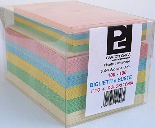 Cartoncini Colorati con Busta Colori PASTELLO Assortiti 100 Pezzi Formato 4 (11 x 8 cm)
