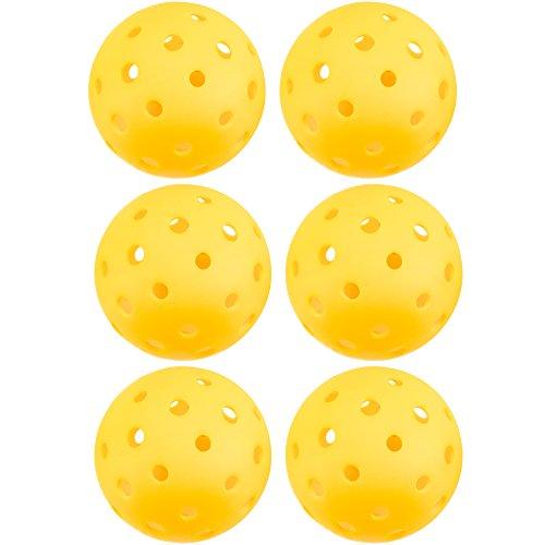 Crown Sporting Goods pickleballs, Standard Größe (40Loch Muster)-Outdoor Spiel, Praxis, Training Polymer Bälle, Goldrute Gelb, 6-Pack