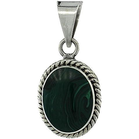 Revoni-Collana in argento Sterling con Malachite verde ovale pendente con pietra e corda, intrecciato, 1 1/8 in., 28 mm di