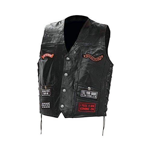 Rock-Entwurfs-echtes Büffelleder Verborgen tragen Biker-Weste mit 16 Patches (Weste Leder Biker Rock)