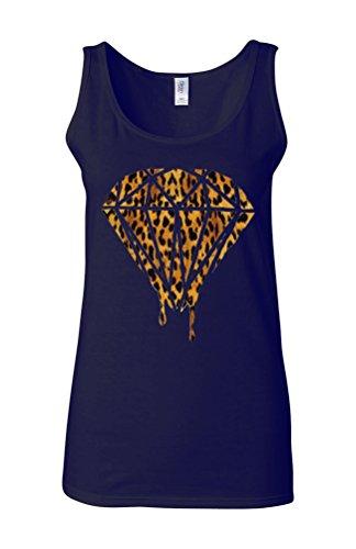 Leopard Dripping Diamond Logo Novelty White Femme Women Tricot de Corps Tank Top Vest Bleu Foncé