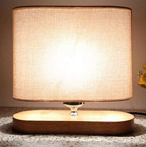Lámpara de mesa moderna creativa de madera maciza soporte de tela pantalla de la lámpara de la lámpara de la cabecera del estudio de la lámpara del escritorio de oficina estudio iluminación (Escritorios Oficina De)