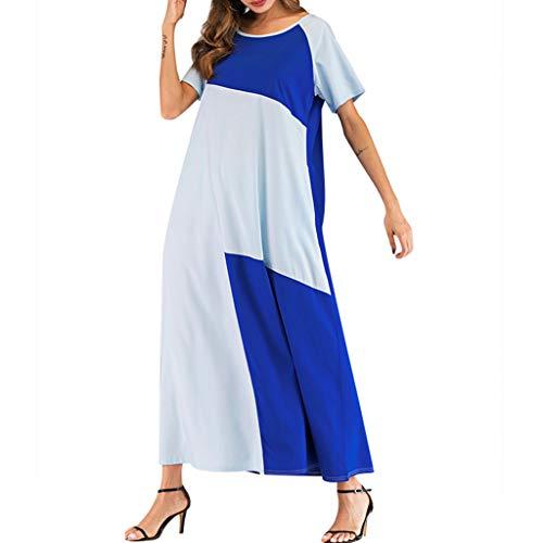 QHJ Damen Rundhalsausschnitt Kurze Ärmel Kontrastnaht lockeres Kleid Mode Frauen Oansatz Kurzen Ärmel Farbe Block Zwei Taschen Muslim Langes Kleid -
