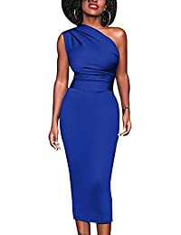 6fe0806ce5fa Tubino elegante monospalla vestito donna party drappeggio spalla laterale  blu nero
