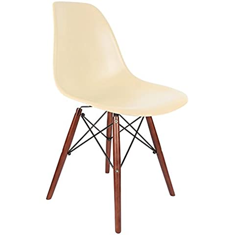 Promo–Set di 2x sedia design DSW piedi legno verniciato noce seduta PP–MOBISTYL® mobi-dswd Crème Beige