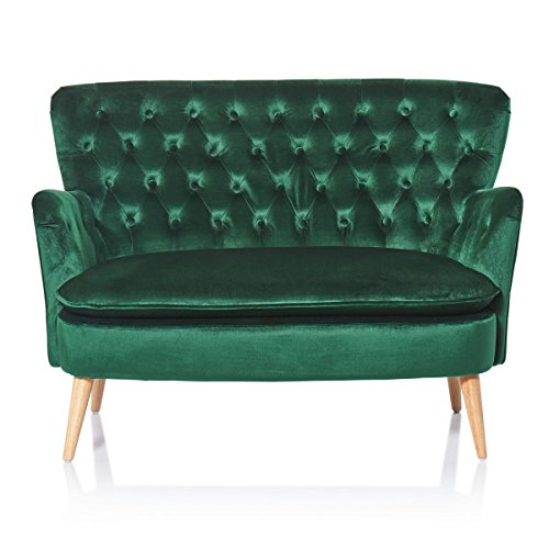 miaVILLA Sofa, 2-Sitzer Lea – Knopfheftung – Chesterfield-Stil – Samtbezug