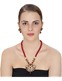 Aradhya Kundan Pendant Necklace With Onyx Stone Beads Necklace And Earrings For Women And Girls
