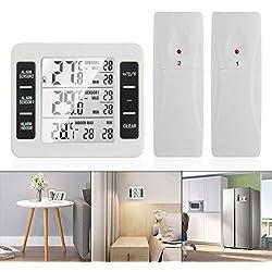 OurLeeme Thermomètres numériques sans Fil, Thermomètre Réfrigérateur Écran LCD numérique Alarme sonore Thermomètre pour congélateur Étanche avec 2 capteurs sans Fil