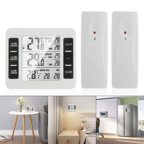 OurLeeme Wireless Digital-Thermometer, Freezer Thermometer Kühlschrank-Thermometer LCD-Digitalbildschirm Akustischer Alarm Gefrierschrank Thermometer Wasserdicht mit 2 Wireless-Sensor