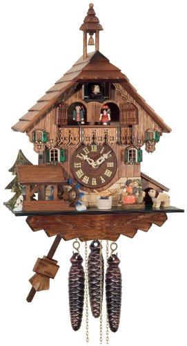 River City Clocks One Day Musical Kuckucksuhr Cottage, Boy und Girl Kiss mit Wasserrad verwandelt - Cottage, Cuckoo Clock