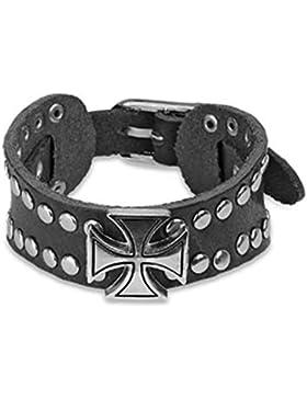 Paula & Fritz® Armband aus Kunstleder schwarz vernieten mit Keltischem Kreuz aus Edelstahl Länge: 210mm, Breite...