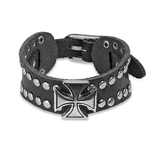 Paula & fritz® bracciale in similpelle nero vernieten con croce celtica in acciaio inossidabile lunghezza: 210mm, larghezza: 30mm