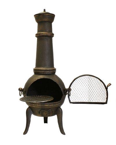 Gartenofen Terrassenofen mit Grillrost, bronze, 126cm