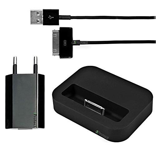 Originale iProtect Set 3 in 1 Set con cavo dati e collegamento USB Dockingstation per iPhone, iPod 4S 4 3GS Classic Touch Nano 3G 2G Photo Mini en nero
