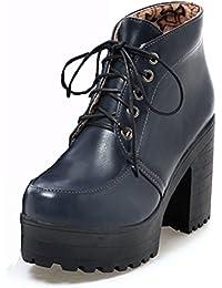 Aisun Damen Runde Zehen Plateau Blockabsatz Schnürsenkel Knöchelhoher Martin Boots Stiefel Grau 39 EU X01vQkTiY