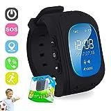 Kinder Smart Watch GPS-Telefon Uhr Wasserdicht Ohne Abhörfunktion, für Kinder, SOS Notruf+Telefonfunktion, Live GPS+LBS Positionierung, Funktioniert Weltweit, App + Support auf Deutsch (black)