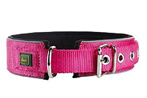 HUNTER NEOPREN REFLECT Halsband für Hunde, Nyon, Neopren gepolstert, reflektierend, 55, himbeer/schwarz