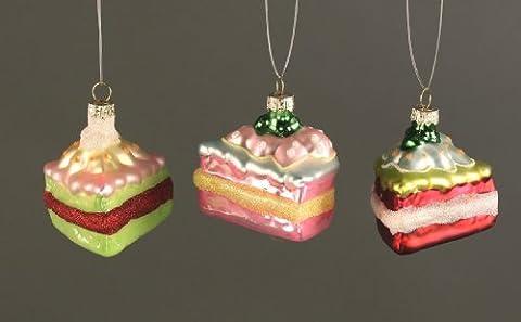 Baumschmuck Anhänger Tortenstück aus Glas 3-tlg. sortiert 7,5 cm kitschig