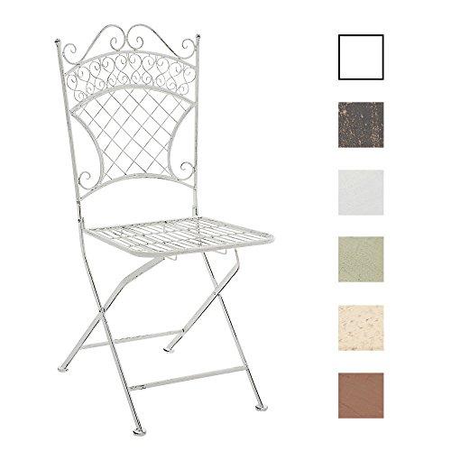 CLP Eisen-Klappstuhl ADELAR Design I Klappbarer Gartenstuhl mit edlen Verzierungen I erhältlich Antik Weiß