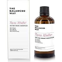 Puro agua de rosas - 100% orgánico, para el rostro, cuerpo y cabello – Hecho en Marruecos, triplemente purificado, sin alcohol – Tónico hidratante anti envejecimiento / antiarrugas con propiedades antiinflamatorias relajantes (100ml)