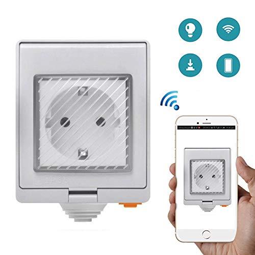 Fousamax Sonoff WiFi Smart Outlet, Funkfernbedienungsbuchse, Sprachsteuerung über Alexa, IP55 wasserdicht -