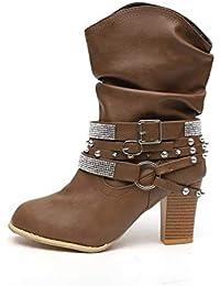 5739357f Botas Mujer Tacon Alto Cuero Botines Invierno Pelaje Tobillo Hebilla Zapatos  de Trabajo Señoras Altos Talones 7CM…