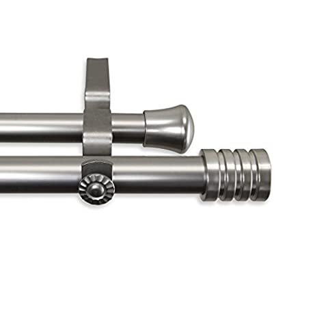 Lee DOUBLE Gardinenstange 71,1–121,9cm–Satin Nickel, plastik, Satin / Nickelfarben, 48-84 Inches