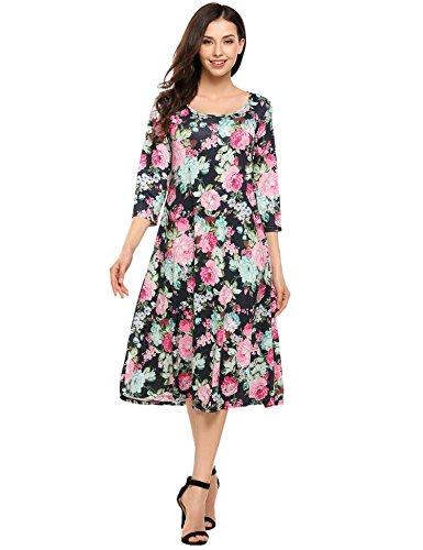 hotouch Damen Kleid Tunika Casual Mi Lange Griff 3/4uni Rundhals Gr. 42, Navy Blue2