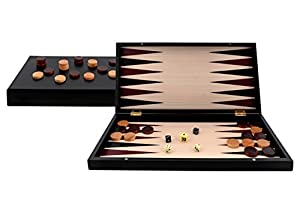 Aquamarine Games- Backgammon Black Series, Color Negro (Compudid CP033)