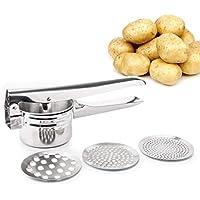 FUKTSYSM Prensador de Patatas - Triturador de Patatas Prensador de Patatas y Fruta de Acero Inoxidable para alimentos cocinados Fruta Profesional con 3 Discos Intercambiables (Fino/Medio/Grueso)