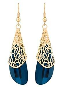 BIG Tree Blue Crystal Gold Design Party wear Earrings