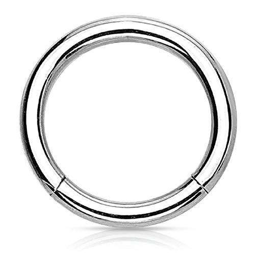 BodyJ4You Segment Ring Scharnier Clicker Hoop Nase Piercing 18g (12mm) Chirurgischer Stahl 18Messgeräten, Body Jewelry (18g Segment Hoop)