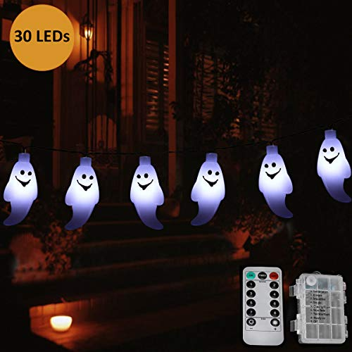 AllGoodWare Halloween Ghost Lichterketten, 395cm 30 LED Batteriebetriebene -