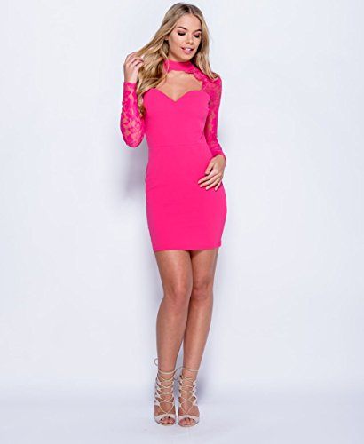 Ladies Plunge Lace Choker Cut Cut Front Bodycon Mini Taille EUR Taille 36-42 Fuchsia