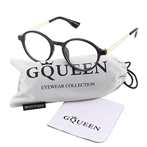 GQUEEN Vintage Inspirierte Runde Nerd Klare Gläser Brille PN4