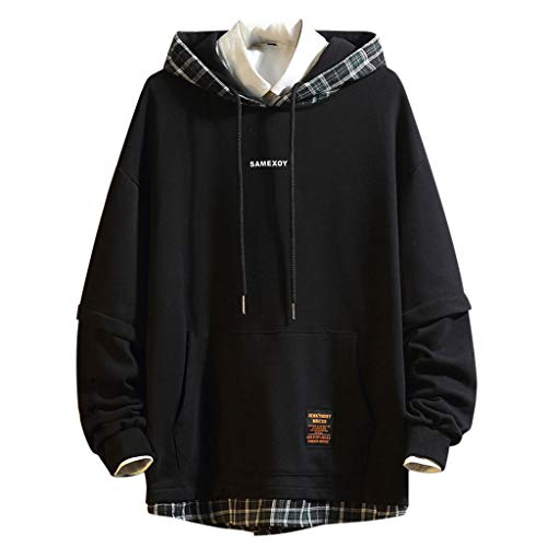 TAMALLU Herren Sweatshirt Party Plaid Patchwork Kapuzenpullover Pullover Langarm Bluse(Schwarz,4XL) -