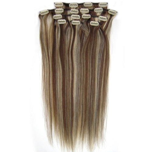 100% cheveux remy Lot de 8 38,1 cm Brun/Blond (# 4/613) cheveux raides à clipser pour extension de cheveux Poids : 100 g