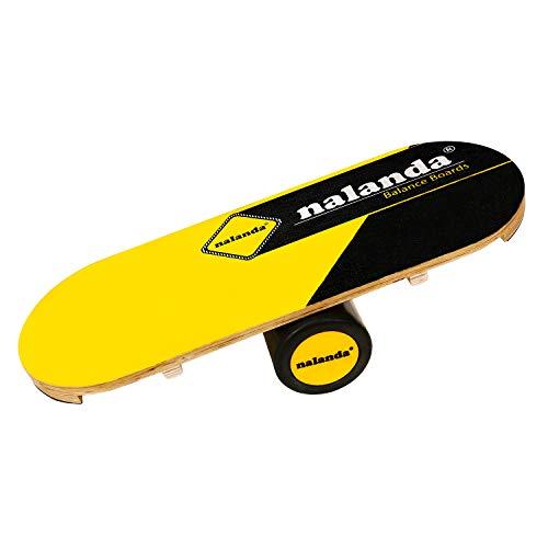 NALANDA Balance Board aus Holz I Balance Trainer Balancierbrett Skateboard I Ideal für Kraft- und Gleichgewichtsübungen (Gelb Schwarz)