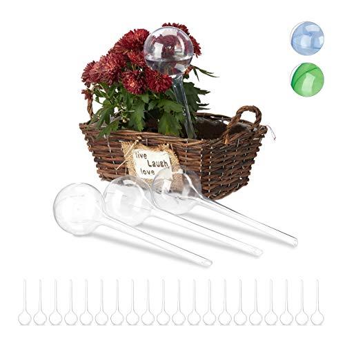 Relaxdays Bewässerungskugeln, 24er Set, Dosierte Bewässerung, 2 Wochen, Topfpflanzen, Kunststoff, transparent